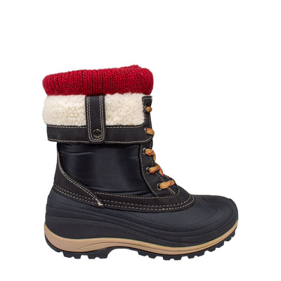 red knit collar warm women's winter boots