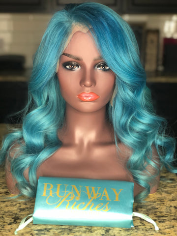 Jaded Blue Lace Frontal Wig 220% Density