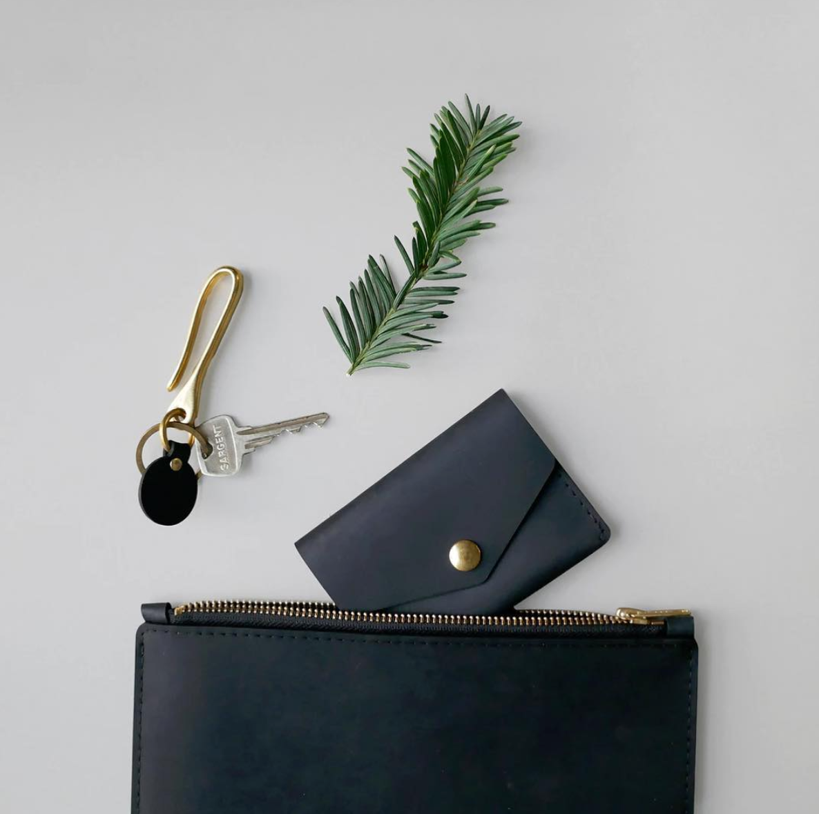 Single Snap Wallet - Black
