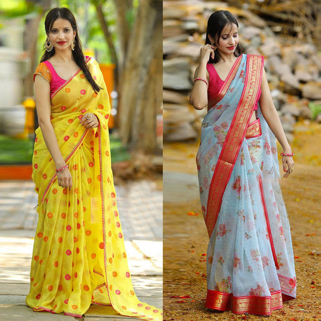 Pack Of 2 Beautiful Flower Print Sarees