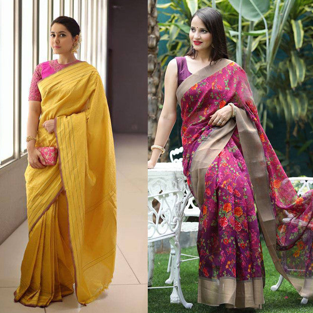 Combo Of 2 Flower Print Fancy Sarees