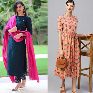 Pack Of 2 Printed Rayon Kurtis