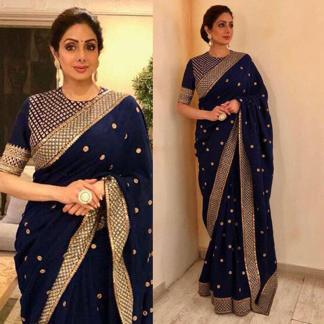 Blue Colored Embroidered Designer Saree
