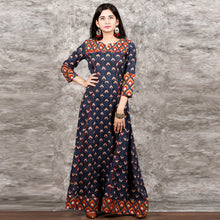 Load image into Gallery viewer, Blue Color Printed Long Kurti