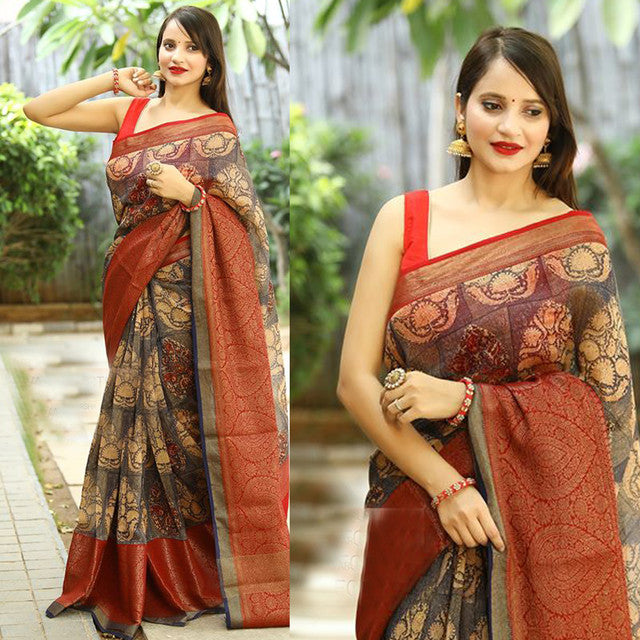 Grey-Red Color Festive Wear Saree