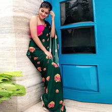 Load image into Gallery viewer, Dark Green Color Floral Print Silk Saree