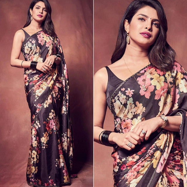 Festive Wear Wine Colored Saree