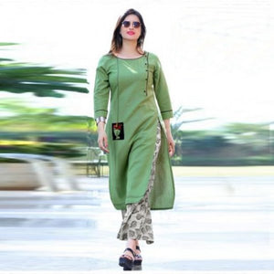 Festive Wear Green Colored Cunning Cottton Kurti