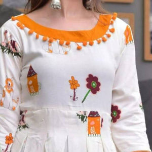 Heavy Rayon White Color Party Wear Kurti