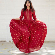 Load image into Gallery viewer, Red Color Heavy Rayon Printed Dress