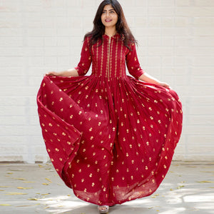 Red Color Heavy Rayon Printed Dress