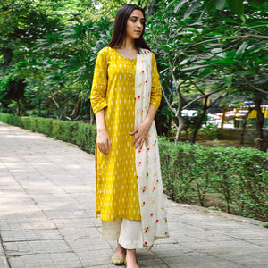 Yellow Colored Office Wear Cotton Kurti