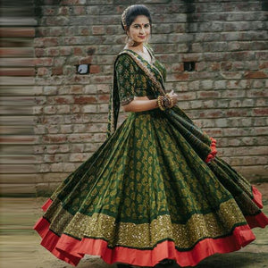 Festive Wear Green Color Designer Lehenga Set