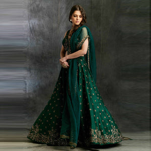 Embellished Net Lehenga in Dark Green