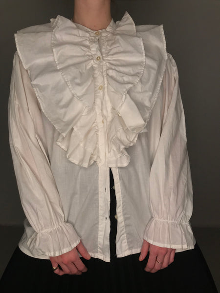 White Ruffle Blouse L