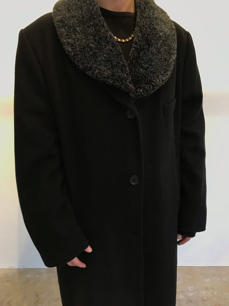 Black Wool Duster L