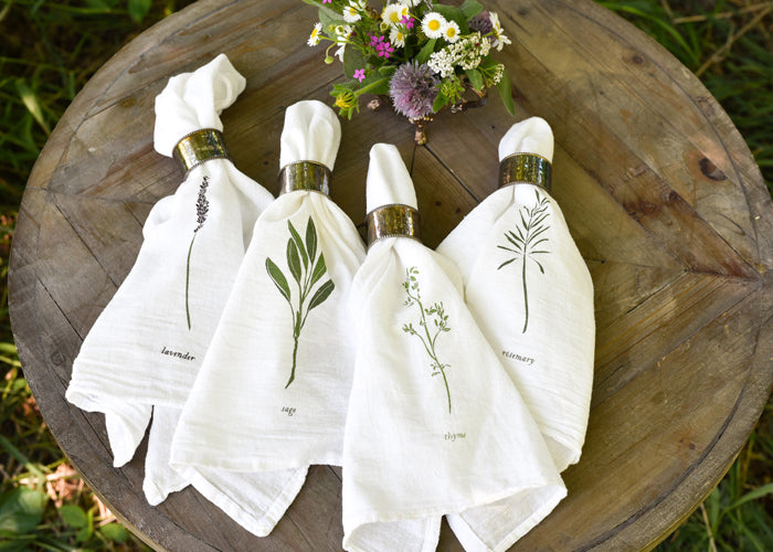 June & December Garden Herb Flour Sack Cotton Napkin Set