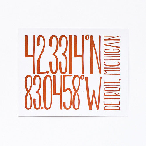 Detroit Art Print : Latitude & Longitude (Color Options)