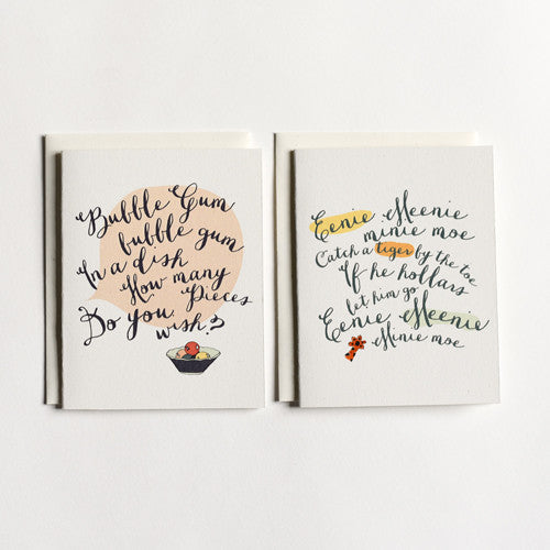 Bubble Gum + Eenie Meenie Cards : Boxed Set of 8