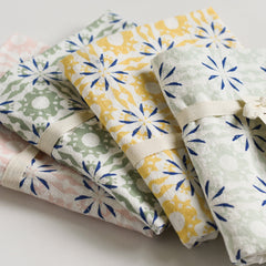 Woodblock Chicory Towels : Set of 4