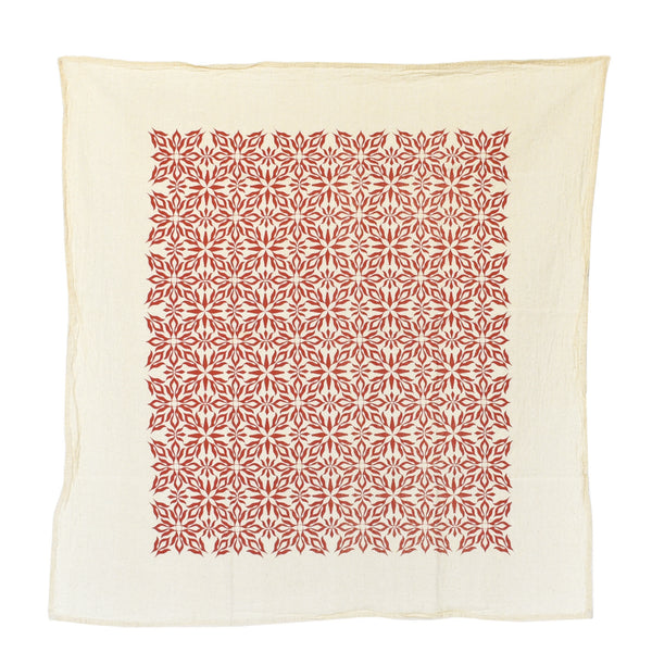 Woodblock Nettles Towel : Terra Cotta