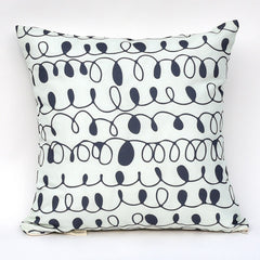 Navy & Mint Squiggles Reversible Pillow : Cover Only