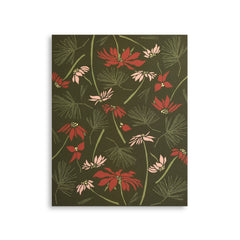 Poinsettia + Pine Art Print