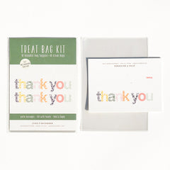 Woodblock Thank You Treat Bag Kit : Set of 10