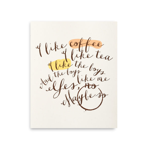Coffee + Tea Art Print
