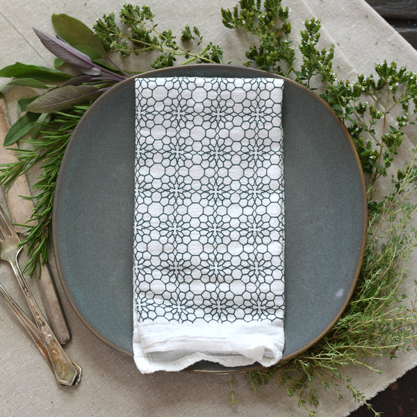 Slate Honeycomb Flowers Napkins
