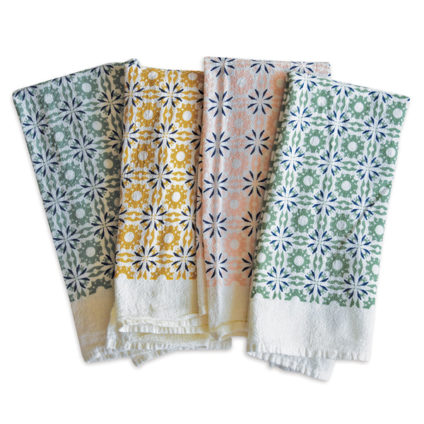 Mixed Woodblock Chicory Napkins