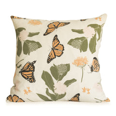 Monarchs & Milkweeds Pillow Cover