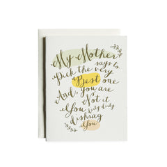 My Mother Says Card