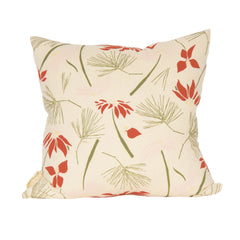 Poinsettia & Pine Pillow Cover