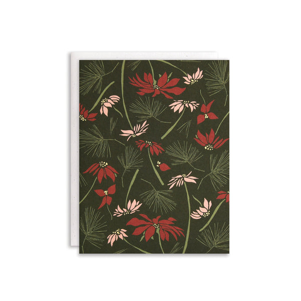 Poinsettia + Pine Cards : Boxed Set of 8