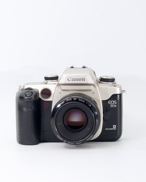 Canon EOS 50E 35mm SLR Film Camera with 50mm f1.8 Lens