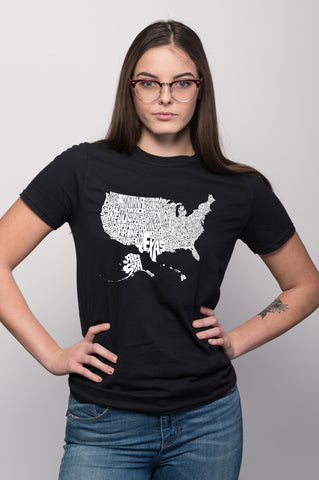 USA States Map Tee for Women