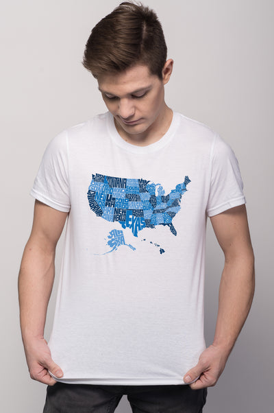 USA States Map Tee for Men