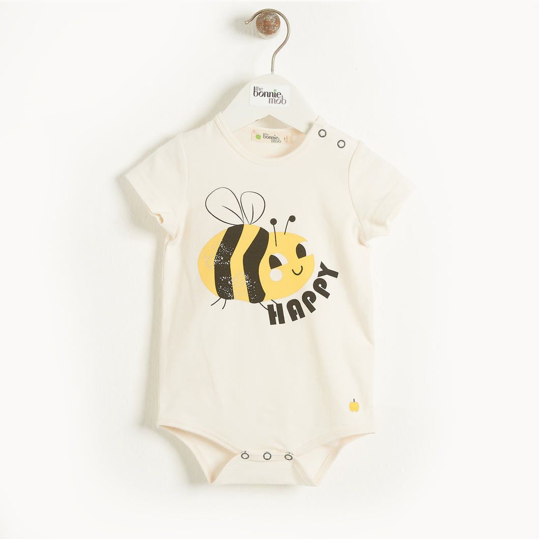 Bee Happy Baby Bodysuit, Organic Cotton, The Bonnie Mob