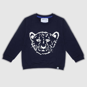SMALL STORIES Navy Cheetah Sweater