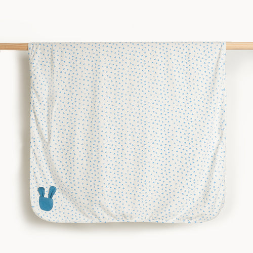 Blue Baby Blanket with Bunnies, Organic Cotton