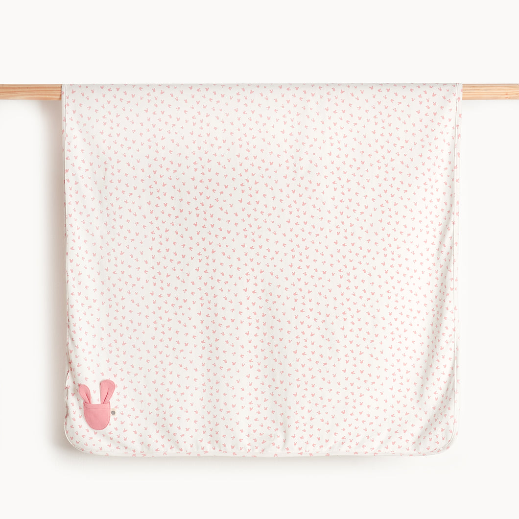 Pink Baby Blanket with Bunnies , Organic Cotton