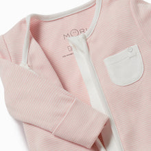 Load image into Gallery viewer, Organic cotton pink baby Mori sleepsuit