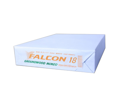 Falcon groundwood mimeo s18 63gsm white 480 sheets short 8.5