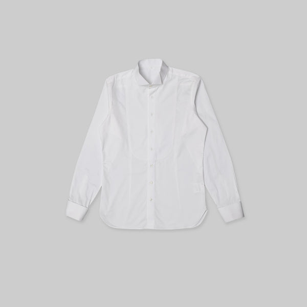 Made-to-Order Formal White Long-sleeved Cotton Tuxedo Shirt with Honeycomb Bib Front