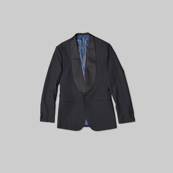 Made-to-Order Midnight-blue Link-front Wool Tuxedo Jacket with Leather Buttons