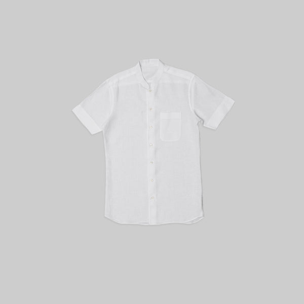 Made-to-Order Casual White Short-sleeved Linen Shirt with Breast Pocket