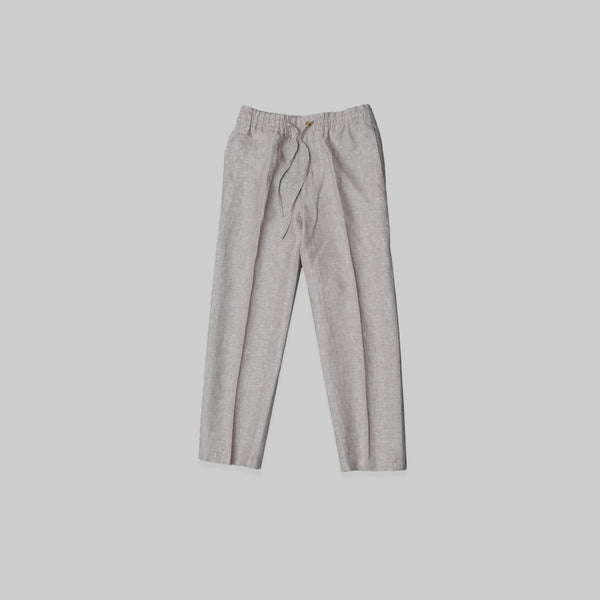 Made-to-Order Casual Camel Linen Drawstring Trousers