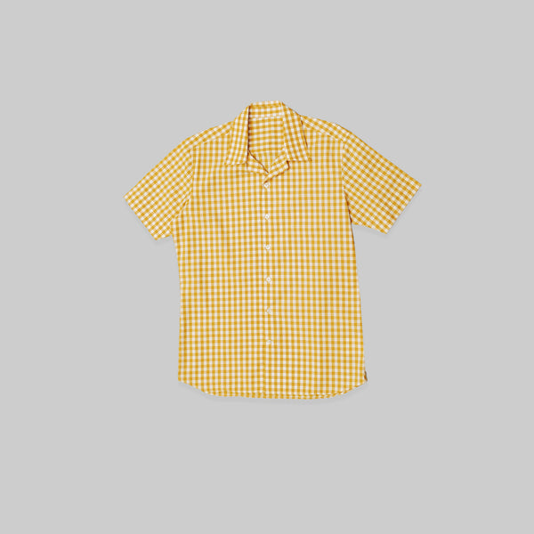Made-to-Order Casual White-yellow Gingham  Short-sleeved Cotton Shirt