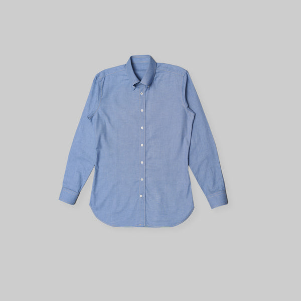 Made-to-Order Blue Denim-like Long-sleeved Cotton Shirt
